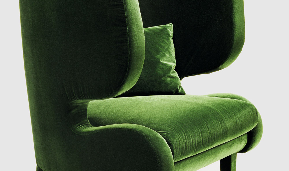 Custom furniture design luxury home decor green velvet fauteuil elephant armchair side view