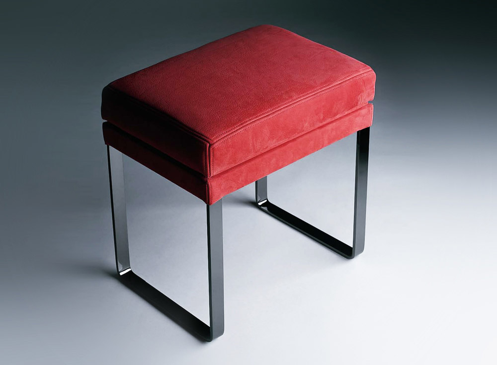 Custom furniture design luxury home decor tabouret nicket red cushion stool with nickel legs