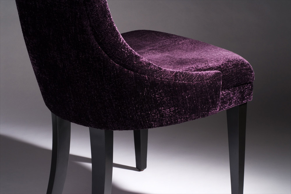 Custom furniture design luxury home decor chaise 19 purple fabric chaise close up