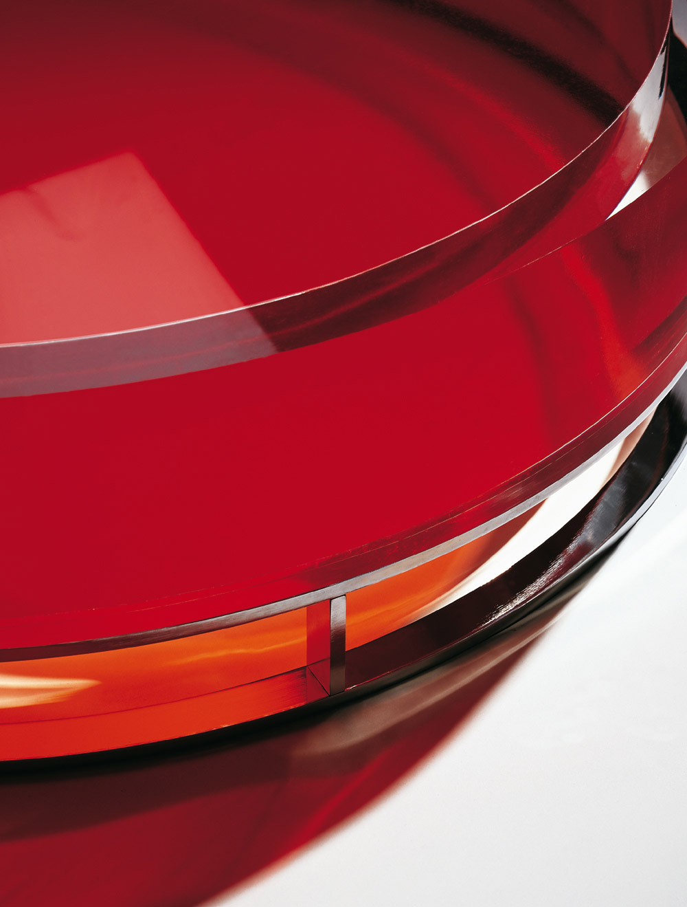 Custom furniture design luxury home decor table pastille red glass table close up