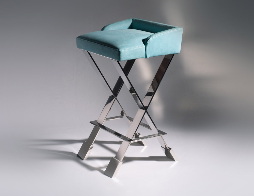 Custom furniture design luxury home decor tabouret 19 leather with metal legs stool